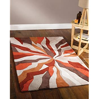 Lord of Rugs Très épais Motif Art Moderne Marron Orange Zone Tapis en 160 x  220 cm (5 \'7,6 cm X 7\' 10,2 cm) Tapis