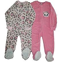 477e606534 Schlafanzug Fleece 2-er Pack Einteiler mit Füßen Pyjama Winter Nachtwäsche  warm