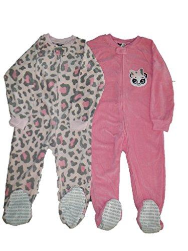 Schlafanzug Fleece 2-er Pack Einteiler mit Füßen 98-104 pink rosa Mädchen girl