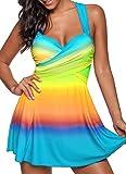 TWIFER Frauen Bikini Set Plus Größe Tankini Set Boy Shorts Dot Gepolsterte Damen Push Up Swimdress Beachwear Badeanzug S-5XL (5XL/52, Y-Himmelblau)