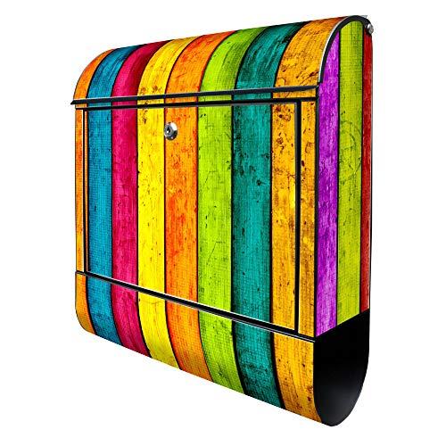 BANJADO Design Briefkasten schwarz | 38x47x13cm groß mit Zeitungsfach | Stahl pulverbeschichtet | Wandbriefkasten mit Motiv Bunte Holzlatten | ohne Standfuß