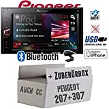 Peugeot 207 307 - Pioneer MVH-AV290BT - 2DIN USB Bluetooth Touch iPhone Android Autoradio - Einbauset