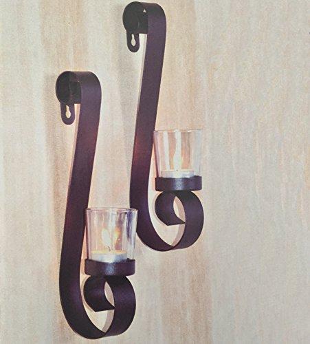 Stillvolles Design aus Metall 2er Set Wandkerzenhalter Wandleuchter für Teelichter