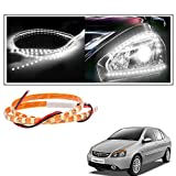 #10: 2 Pc. Vheelocityin 45 cm Waterproof Flexible Tube Strip Car Interior/ Exterior Light - White For tata Indigo eCS