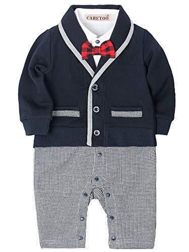 CARETOO Baby-Jungen Bekleidungssets Strampler Baby Langarm Anzug Set Smoking- Gentleman Baumwolle Festliche Taufe Hochzeit für Frühling Herbst