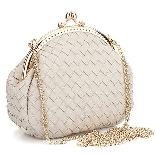 Abend Clutch Bag für Frauen Leder Schulter Handtasche Messenger Geldbörse Taschen mit verstellbaren Strap (nicht-gerade weiss)