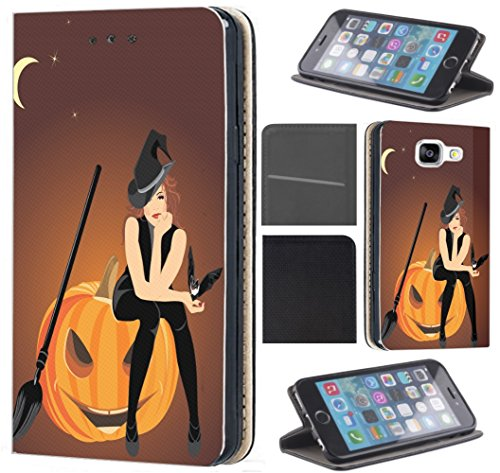 lle für Samsung Galaxy S5 Mini G800 Flip Cover Schutzhülle Kunstleder Flip Case Motiv (1579 Hexe Kürbis Halloween Cartoon) (Halloween-cartoon-hexe)