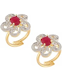 Manikya Gold Plated American Diamond Finger Ring For Women