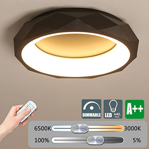 LED Dimmbar Deckenleuchte, Modern Metall Deckenlampe, Rund Kreative Decken-Beleuchtung, Minimalistischen Wohnzimmer Schlafzimmer Leuchte, 30W 2250 Lumen, Dimmen mit Fernbedienung, Ø50cm (Schwarz)