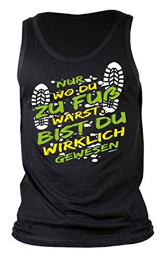 Herren Tank Top für Bergsteiger - Nur wo du zu Fuß warst... - Wandern - Bergwandern - Geschenk - Muskelshirt - Oberteil - shirt - schwarz Schwarz