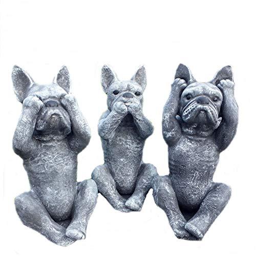 Steinfigur 3er Set Französische Bulldogge Nichts hören sehen Sagen Steinguss 0