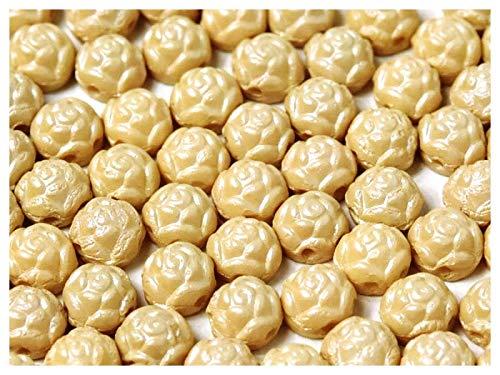 30 Stück Rosetta® Cabochons® - Tschechische gepresste Glasperlen in Form einer runden Rose 6 mm mit zwei Löchern, Alabaster Powder Cream -