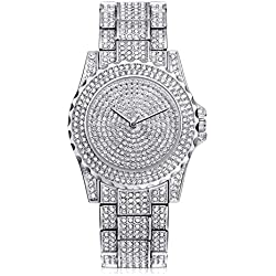 HARRYSTORE Crystal Watches Women Quartz Wristwatch Clock Ladies Dress Gift Watches Silver