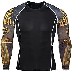 YiJee Manga Larga Tops T-Shirts Formación Aptitud Camiseta Secado Rápido Deportiva Compresión para Hombre como la Imagen3 4XL