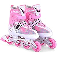 ZCRFY Patines En Línea Zapatillas De Skate Zapatillas De Skate para Niños Ajustan Los Deportes Al Aire Libre para Niños Y Niñas,Pink-M
