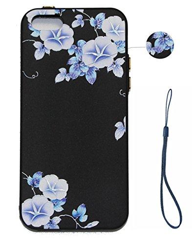 Hülle für iPhone SE 5 5S 5G, Schwarz Silikon Schutzhülle für iPhone SE 5 5S 5G Case TPU Bumper Handyhülle, Cozy Hut ® [Thin Fit] [Schock Absorption] Soft Flex Silikon Schlanke Hülle [Schwarz] Premium  Trompete