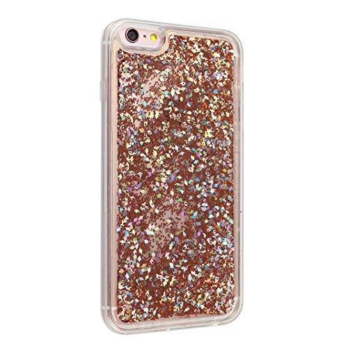 Coque Apple iPhone 6 Case en silicone, Rosa Schleife iPhone 6S Housse de protection Transparente Gel résistante Silicone Coque Mince Souple TPU 3D Liquid Cristal Clair Bumper Swag Glitter Bling Shiny  Or
