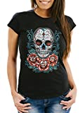 MoonWorks Damen T-Shirt - Muerte Day of Dead Totenkopf Rockabilly Sugar Skull Tattoo Blumen - Comfort Fit schwarz L