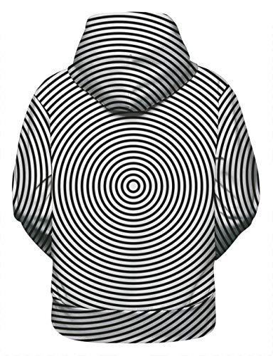 Gifftiy Sportswear-Pullover Für Herren Damen Trend Neue 3D-Druck Kreative Schwarz-Weiß-Whirlpool Freizeitsport Lose Kapuzenpullover Männer Herbst Und Winter -L