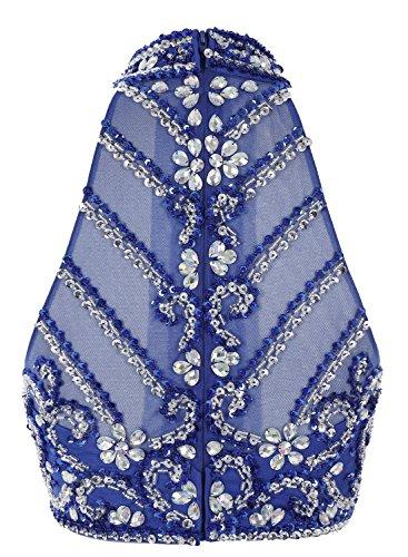 Bbonlinedress Robe de cérémonie et de soirée à traîne col roulé emperlée florale deux pièces en mousseline Champagne