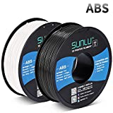 SUNLU ABS Filament 1.75mm for FDM 3D Printer, 2KG(4.4LBS) ABS 3D Filament Accuracy +/- 0.02 mm, Black+White