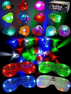 JOYIN 60 PCS Juguetes de lluminación LED con AnilloLuminosas Gelatina Pedregoso Gafas Luminoso Disfraces para Fiestas Accesorios de Joyin Inc.