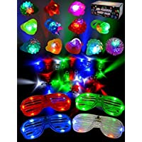 JOYIN 60 Pieces LED Light Up Toy New Year Party Favor Supplies with 44 LED Finger Lights, 12 LED Flashing Bumpy Rings and 4 Flashing Slotted Shades Glasses