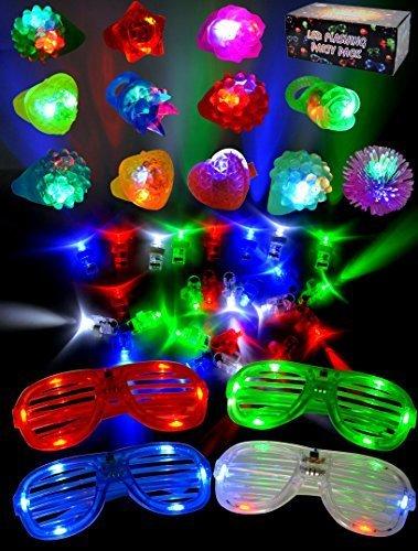 JOYIN 60 LED Spielwaren Party Zubehör Mitgebsel für Kinder Kindergeburtstag Gastgeschenke -44 LED Fingerlicht Fingerring Leuchtringe 12 LED Blinkend Ringe und 4 LED Brille
