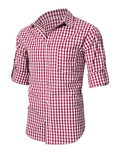 KoJooin TRACHTEN Herren Hemd Trachtenhemd Langarmhemd Freizeithemd Baumwolle - für Oktoberfest, Business, Freizeit (Rot XL) - 4