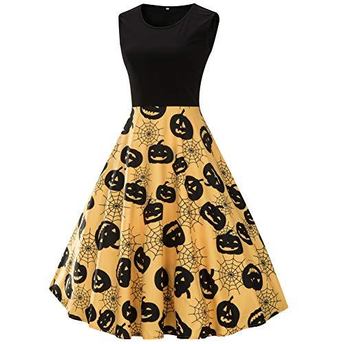 MAIMOMO Frauen Männer Halloween Kürbis Large Size Kleid Halloween Kostüm Damen Kleid Europa Und Amerika Große Größe Große Schaukel, Gelb, 3Xl (Frau. Halloween-kostüm Amerika)