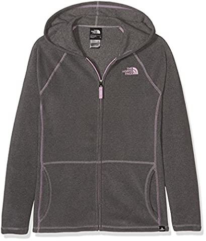 The North Face Glacier Fleece Girl's Outdoor Hoodie available in Medium Grey Heather Size Large