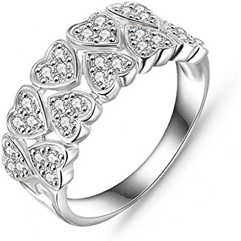 Anillo Compromiso de Mujer Chicas Brillantes Diamante Imitación de Pavé Cz por AieniD