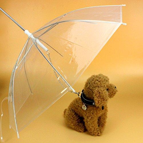 EMVANV Paraguas perro correa fácil ver transparente