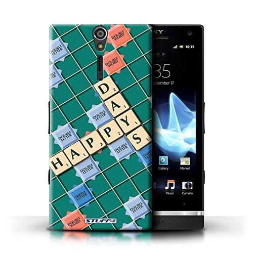 Kobalt® Imprimé Etui / Coque pour Sony Xperia S/LT26i / Connaître conception / Série Mots de Scrabble Jours Heureux