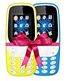 IKALL 4.57 cm (1.8 Inch) Mobile Phone Combo - K3310 (Yellow & Sky Blue) With feature of currency detector