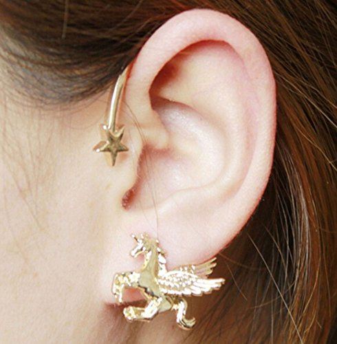 Unicorn Cuff Earring Gold Shade, Unicorn Jewellery in a Gothic Cuff Style Earring