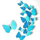3D Schmetterlings Wand Aufkleber Art und Weiseentwurfs DIY Wand Dekoration Haus Dekoration Babyroom Dekoration Wandtattoo,Blau,12 Stücke