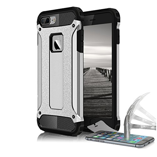 Schutz Hülle Case für Apple iPhone 5 5s SE Full Cover Case | 9H PANZERGLAS INKL. | Schwarz Armor Hybrid Outdoor Rugged Impact Panzerfolie Hartglas Silber