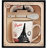 Tuelip Ceramic Mug With Spoon & Lid For Tea & Coffee Printed Mug (Multi Design Mug) 270 Ml