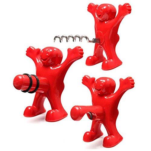 knowing 3 Stück Roter Mann Flaschenöffner Weinflasche Stopper Weinflasche Korkenzieher Bierflasche Opener Geschenkset (Rot)