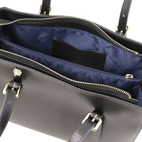 Tuscany Leather Aura Borsa a mano in pelle Ruga Nero Borse donna a mano in pelle