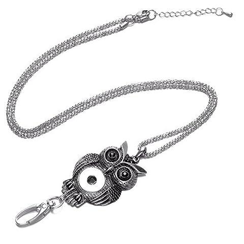 Soleebee Klassische Handgemachte Perlen ID-Kartenhalter Lanyards Halskette mit Strass Click-Button Verschluss Anhänger Passend Schlüssel, ID Abzeichenhalter (Retro Eule)