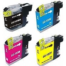 1 Juego de 4 de alta capacidad de cartuchos de tinta compatibles BROTHER LC-123 BK / C / M / Y con CHIP para impresora Brother MFC-J4110DW, MFC-J4410DW, MFC-J4510DW, MFC-J4610DW, MFC-J4710DW, MFC-J132W, DCP-J152W, DCP-J552DX, DCP-J752DW - LC123. cian magenta amarillo y negro