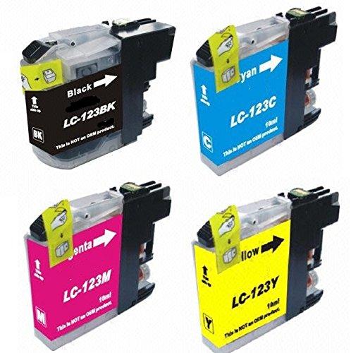 1 Ensemble de 4 Haute Capacité Cartouches d'encre compatibles BROTHER LC-123 BK / C / M / Y avec puce, pour Brother Imprimantes MFC-J4110DW, MFC-J4410DW, MFC-J4510DW, MFC-J4610DW, MFC-J4710DW, MFC-J132W , DCP-J152W, DCP-J552DX, DCP-J752DW - LC123