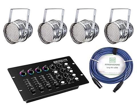 Showlite PAR-64 10mm LED Starter SET inkl. DMX Operator (4 x LED Scheinwerfer, DMX Controller, extra Farbdrehregler, 5 m Kabel, 3pol)