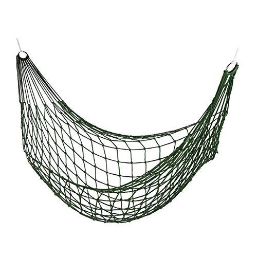 Relaxdays Netzhängemmatte, Garten Hängematte für 1 Person, Camping, leicht, in-& Outdoor, zur Aufbewarung, dunkelgrün