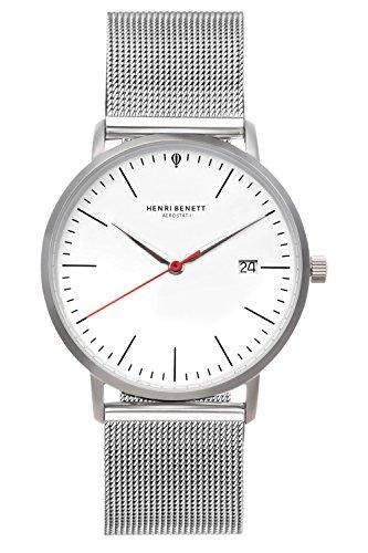 HENRI BENETT Bauhaus Uhr Saphirglas - 38 mm | Schweizer Ronda Uhrwerk | Herrenuhren mit Lederarmband | Schwarzes Lederband (silber - weiß - milanaise)