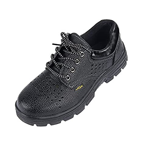 Yodensity Men Women Black Safety Shoes Lace Up Work Boots