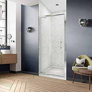 Airby 860mm Pivot Hinge Shower Door 6mm Safety Glass Reversible Glass Hinged Swing Shower Enclosure Cubicle