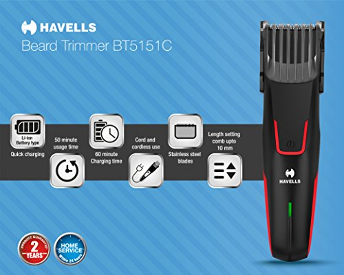 Havells BT5151C Li-ion Cord and Cordless Beard Trimmer without adaptor (Black & Red)